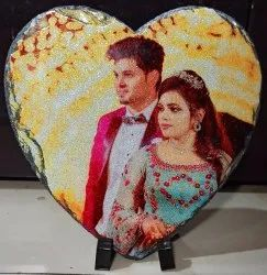 Glitter Heart Shaped Rock Photo Frame Sublimation Printing