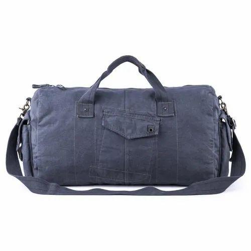 e2c8cfd049 Navy Blue Cotton Canvas Canvas Leather Duffel Travel Gym Bag ...