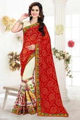 Red Bandhani And Beige Half And Half Saree