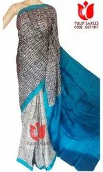 Tulip Sarees Party Wear Pure Tussar Silk Saree Hand Blocked/Dyed, 6.5 mtr (with Blouse Piece)