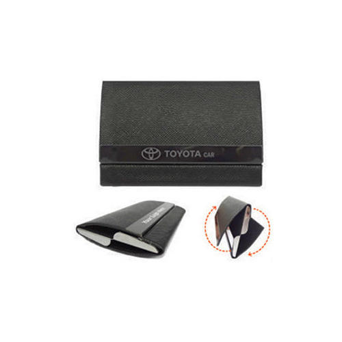 Black Leather Dual Visiting Card Holder, Size: Normal