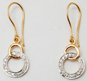 Valentine Dynamic Dual Tone Pave Set Diamond Studded Hanging Earrings