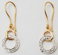 Dynamic Dual Tone Pave Set Diamond Studded Hanging Earrings