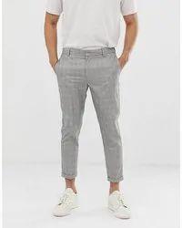 Cotton Men Denim Check Pant
