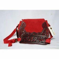 Charmanya Red & Dark Brown Ladies Designer Handbag