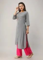 Straight Casual Wear Rayon Embroidered Kurtis