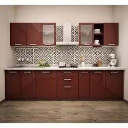 Wooden Straight Modular Kitchen, Warranty: 5 Years