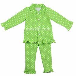 Boys And Baby Girls Available Kids Ruffle Outfit Pajamas Round Collar Pyjamas