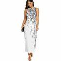Branch Print Maxi Party Dress