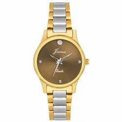 Jainx Brown Dial Two Tone Golden Analog Watch For Women - JW 1203