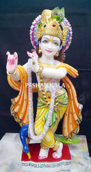 White Painted Marble Krishna, for Worship, Size: 12 To 66 Inch
