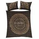Black Gold Ombre Floral Mandala Duvet Quilt Cover
