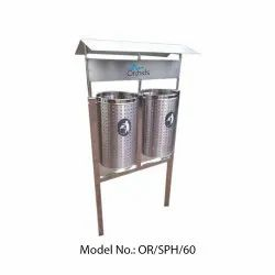 Orchids Pole Mounted Twin SS Bin with Roof