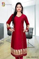 Maroon Silk Georgette Uniform Kurti