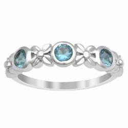Stackable 925 Fine Silver 0.75 Ctw Blue Topaz Gemstone Art Deco Women Ring