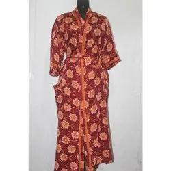 Vintage Silk Sari Long Kimono Bath Robe