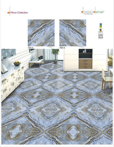 Blue Ceramic Digital Nano Vitrified Tiles 24x24 Mirror 7004 5 10