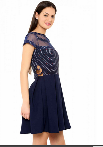cde9fbb7af95 Navy Blue Quater Sleeves Fashionoma Casual 3 4 Sleeves Blue Skater Dress