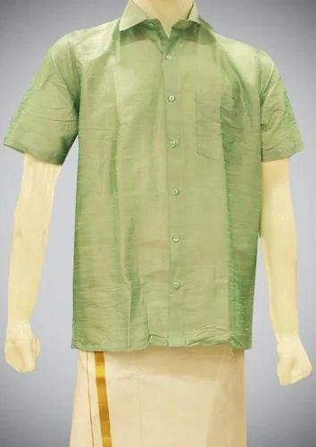 047fafd469af49 Light Green Plain Cotton Silk Shirt