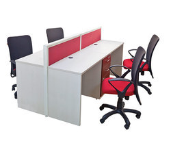 4 Seater Workstation With Sharing Padestral Drawer