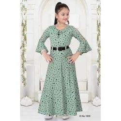 Round Neck Designer Green Gown