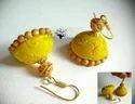Yellow Handmade Jhumka