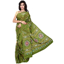 Mehandi Color Bandhej Fancy Saree with Blouse Piece, Length: 5.5 m