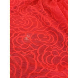 Red Jacquard Designer Net Fabric, Use: Garments