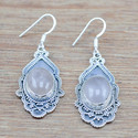 ROSE QUARTZ GEMSTONE 925 STERLING SILVER JEWELRY HANDMADE EARRING WE-5274