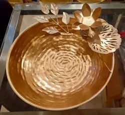 Metal Base Golden Decorative Diwali Platters