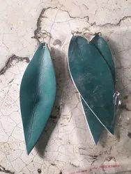Green Leaf Leather Earring