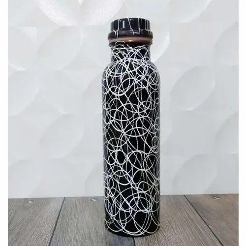 Waseem Handicraft Blue Copper Dora Printed Bottle, Packaging Type: Box
