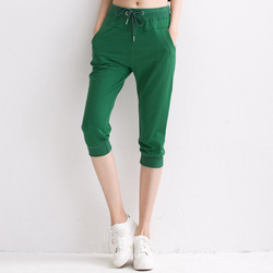 Ladies Green Plain Capri, Size: XL