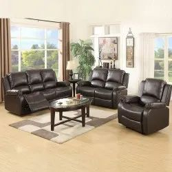 Brown Modern Leather 6 Seater Sofa Set