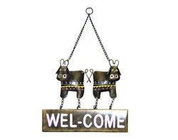 Handmade Twin Cow Welcome Wall Home Decor Iron Craft