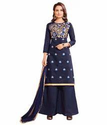 Navy Blue, Golden Women's Palazzo Suit