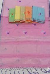 Lenin Cotton Handloom Saree, 5.5 M (separate Blouse Piece)