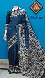 Block Printed Pure Silk Saree, 6.5 m ( with Blouse Piece )