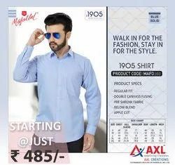 Full Sleeves Cotton 1905 Blue Solid Shirt