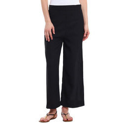 Ladies Cotton Black Plain Palazzo, Size: S, M & L