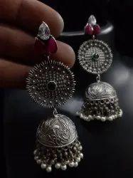 German Silver Oxidized Antique Polish Stone  Earring For Women