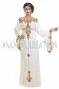 Cream Solid Ladies 6374 Dubai Party Dress