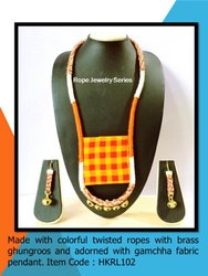 HKRL103 Rope Jewelry Ethnic Handloom Gamchha Pendant