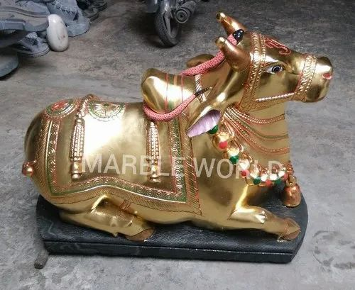 Golden Color Marble Nandi Statue, Size/dimension: 12 To 120 Inches