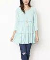 50% Cotton 50% Viscose Knitted Womens Ruffled Long Sleeve Tunic