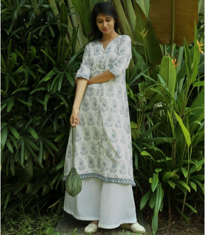 White Printed Cotton Flared Kurta