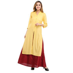 Cottinfab Solid Kurta And Skirt Set
