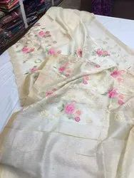 Silk Linen Embroidery Work Saree, Length: 6.3 m (With Blouse Piece)