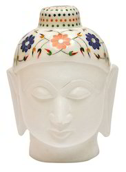 Marble Budha Face Inlay Semi Gems Stone