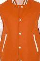 Orange Body with White Leather Sleeves Varsity-  Men